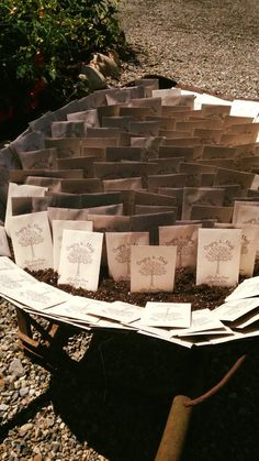 This couple had seed favors in a rustic wheelbarrow for their guests to plant.  These seeds help the monarch butterfly population.