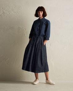 TOAST | Denim Gathered Waist Skirt
