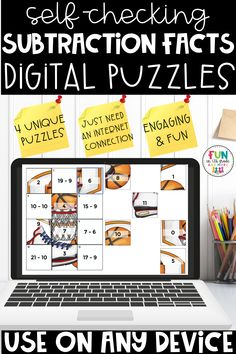 These no prep, self checking digital subtraction fact puzzles are perfect for independent or partner work, early finishers and distance learning! Compatible with any device including iPad, chromebooks & laptop with internet! Great for 4th grade, 5th grade & 6th grade. Includes 36 subtractions problems to review and test prep! So much fun!