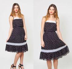 Vintage 80s Black and White POLKA DOT Sundress Blouson Ruffle Midi Dress by LotusvintageNY