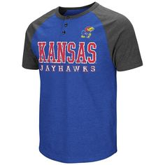 Men's Colosseum Kansas Jayhawks Spotter Henley, Size: Medium, Med Blue