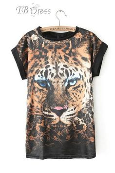 Stunning Tiger Print Short Sleeves Round Neckline Long T-shirt