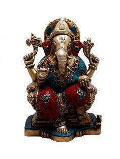 (sku no:Ganesha brass Indian Religious God Ganesha with Turquoise Idol Brass Sculpture Statue Kali Statue, Saraswati Statue, Lord Shiva Statue, Krishna Statue, Brass Statues, Durga Goddess, Indian Gods, Collectible Figurines, Ganesha
