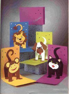 Двигающиеся открытки  своими руками - лев, обезьяна, кот и собака. Поделки для детей