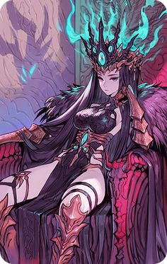 Abyssal Crown – Epic Seven Wiki for Beginners Fantasy Character Design, Character Design Inspiration, Character Concept, Character Art, Concept Art, Anime Fantasy, Fantasy Girl, Sucubus Anime, Anime Lindo