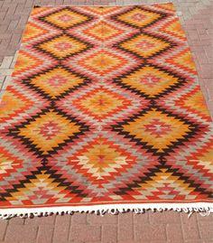 "VINTAGE Turkish Rug Kilim Carpet, Handwoven Kilim Rug,Antique Rug Kilim,Decorative Kilim, Natural Wool 65.5"" X 86.5"" (167CM x 220CM)   on Etsy, $1,195.00"