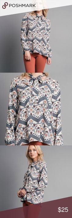 """Bailee Top Large - V-neck with tie - Full length: 29"""" - Long sleeve - chest: 20"""" - Allover print - sleeve: 24"""" - Made in USA - 100% polyester blupitch Tops Blouses"""