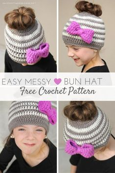 Learn how to make this adorable free kids messy bun hat crochet pattern from Daisy Cottage Designs! It's quick and easy, and will be sure to put a smile on any little girl's face! #freecrochetpattern #crochetpattern #ponytailhat #messybunhat