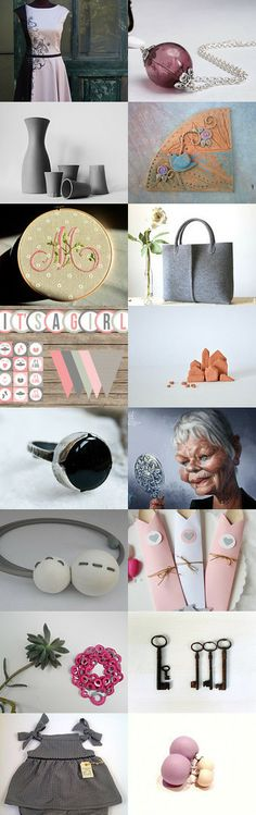 Pink and gray by BarbaraBi on Etsy--Pinned with TreasuryPin.com