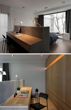 BEDROOM DESIGN IDEA - This Bed Has A Desk Built Into The Back Of The Headboard