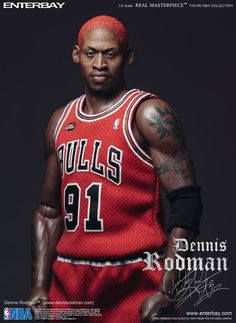 Features: 2 head sculpts of museum-like representation of Dennis Rodman with authentic likeness, one smiling head sculpt and one regular (iconic) facial expression including. The head sculpts are hand
