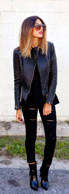 all black - leather jacket, ripped jeans, shoes and the sunglasses