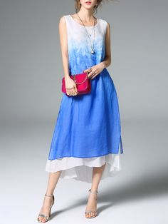 5cf20c5909d8f Blue Printed Sleeveless Linen Midi Dress Long Cocktail Dress