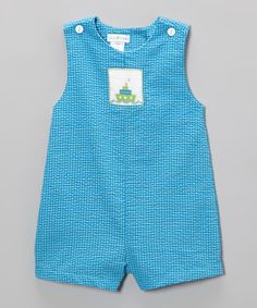 Take a look at this Turquoise Boat Smocked John Johns - Infant by Petit Pomme on #zulily today!