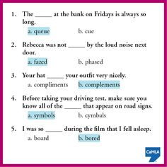 Here's the answers to the homophones quiz. How did you do?