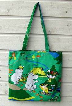 Tote shopping bag shoulderbag with Moomins Snufkin Snorkmaiden Tove Jansson, Moomin Valley, Cute Squirrel, Red Berries, Happy Campers, My Bags, Finland, Shopping Bag, Laughter