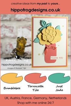 Thank You Card. Handmade using Wild Rose Dies, Jar Punch, Blossoms in Bloom Stamp Set, In Color, Ornate Garden Ribbon Combo Pack, Gold Glitter Enamel Dots and Stampin' Cut Karen Young, Class Projects, Emboss, Gold Glitter, Blossoms, Thank You Cards, Project Ideas, Punch, Stampin Up