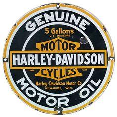 Vintage Harley-Davidson Genuine Motor Oil Porcelain Sign 1