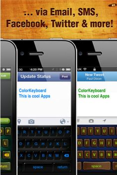 Cool iPhone, iPad, iPod Touch Apps: Keyboard Color- Add color, pizazz to your grey keyboard-loads of themes