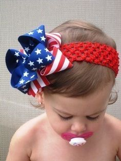 Stars and Stripes... Patriotic Princess Boutique Hair Bow. Hannah still wears her bow like this. :)