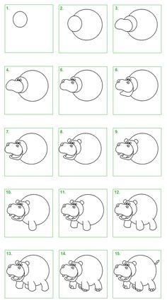 Schoolwiz - Hoe teken je een nijlpaard (2)