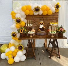Sunflower Themed Birthday 🌻 #candytable #backdrop #balloongarland #cakestands #cake #backdrop #partyrentals #sunflower Sunflower Party, Candy Table, Balloon Garland, Backdrops, Table Decorations, Birthday, Cake, Food, Home Decor
