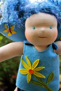 worlds most gorgeous waldorf dolls  I love her blue hair :)