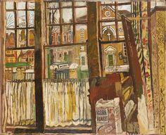"""Window, Dartmouth Row, Blackheath by John Bratby Oil on Hardboard (Government Art Collection)"" Art And Illustration, Illustrations, John Bratby, Painting Collage, A Level Art, Art Database, Art Uk, London Art, Your Paintings"
