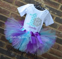 Winter ONEderland Purple Lilac Turquoise and Aqua by TickleMyTutu