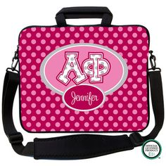 Alpha Phi Letters on Dots Laptop Bag Alpha Phi Letters, Sorority Life, Laptop Bag, Lunch Box, Dots, Style, Stitches, Swag, Stylus