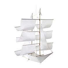 "Sailing Ship Kite – White | Serena & Lily  Sailing Ship Kite – White  Handcrafted bamboo with nylon. Easy assembly required. Basic kite twine included. 26"" SQ x 28"" H overall. (Item # DE-ACC24-01)   $60"