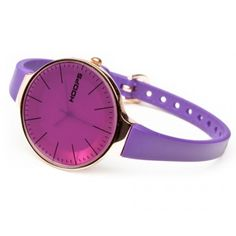 """Hoops Watch Glam Gold Electric Violet    Beautiful, irreverent, trendy and unique! Welcome to the HOOPS """"B + chic"""" dimension, for those who want to make fun of the time. Small and harmonious collectibles that fit and enhance your style."""