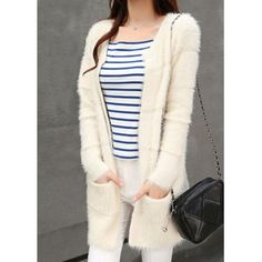 Wholesale Loose Pockets Design Long Sleeve Round Neck Mohair White Cardigan For Women (WHITE,ONE SIZE), Sweater & Cardigan - Rosewholesale.com
