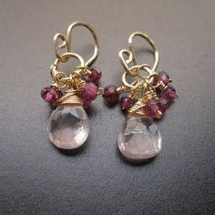 Sweet handmade 14k gold fill wire wrapped gemstone Marisol petite cluster earrings by Unique Kreations. Faceted pastel pink rose quartz gemstones