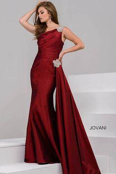 b2475d1b32a Burgundy One Shoulder Ruched Bodice Evening Dress 40977 Mermaid Evening  Dresses