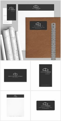 Full brand design suite ready to personalize for architects, realtors, home builders and more. The modern home design is polished and professional to get you up and running right away. Business cards, labels, office stationery and more. Designed by 1201AM.