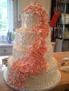 Peach Wedding Cake By kcollins5 on CakeCentral.com