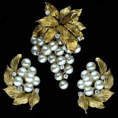 Grape Motif Brooch and Clip Earring Suite - 50-1-1560 - Lang Antiques