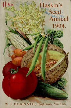 Nineteenth annual seed catalog : farm, field and garden seeds Garden Catalogs, Seed Catalogs, Vintage Botanical Prints, Vintage Prints, Seed Illustration, Seed Art, Vintage Seed Packets, Garden Labels, Seed Packaging