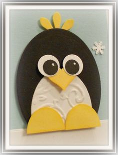 Punch Art Penguin 2 - cute detail on the belly Paper Punch Art, Punch Art Cards, Kids Birthday Cards, Happy Birthday, Shaped Cards, Handmade Greetings, Animal Cards, Winter Cards, Cool Cards