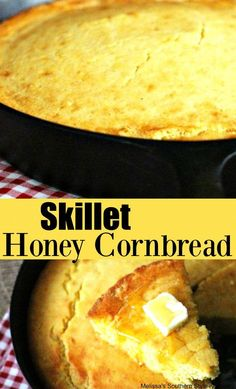 Make this Skillet Honey Cornbread in your cast iron skillet and enjoy the crispy bottom and sides that only cast iron can give. Cast Iron Skillet Cooking, Iron Skillet Recipes, Cast Iron Recipes, Dutch Oven Cooking, Dutch Oven Recipes, Cooking Recipes, Cooking Gadgets, Dutch Ovens, Milk Recipes