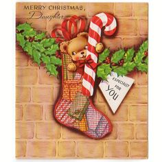 Vintage 1960s Unused Christmas Card Bear in Mesh Stocking Holding Candy Cane