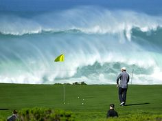 Pebble Beach and Tiger Woods. Most beautiful golf course in the world.