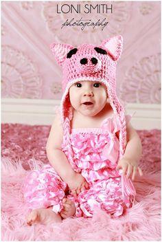 Baby Piggy Earflaps Hat - Crochet Newborn NB Beanie Boy Girl Costume Halloween Thanksgiving Christmas Winter Photo Prop Cap. $19.99, via Etsy.