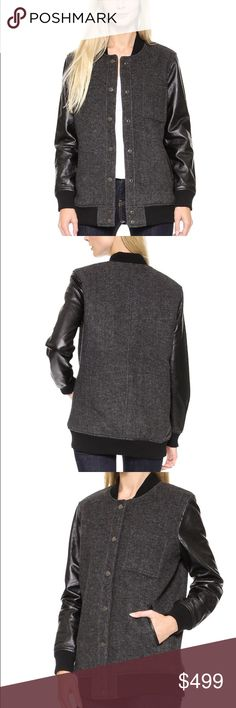 BNWT LEATHER/TWEED BOMBER JACKET- FALL MUST HAVE! Never worn! This item is HOT!!! 100 percent genuine leather, quilted inside and wool tweed bodice. Celebrity favorite brand - Current and Elliot, stylist to the stars! Amazing, must have key fall style! Looks great with everything! Tag says 0 - I'm a size 4-6 and it fits perfectly :) Current/Elliott Jackets & Coats