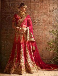Pink Orange Bridal Lehenga Collection Online Shopping ,Indian Dresses - 2