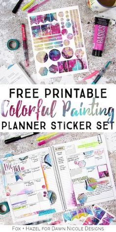 Free Colorful Painting Printable Planner Stickers. A gorgeous set of handmade planner stickers to add some artsy fun to your planner! - Fox & Hazel for Dawn Nicole Designs