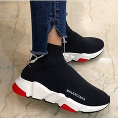 Fashion Look Featuring Balenciaga Sneakers by outfittys - ShopStyle Sock Shoes, Women's Shoes, Me Too Shoes, Shoe Boots, Shoes Sneakers, Shoes Men, Shoes Tennis, Adidas Shoes, Knit Sneakers