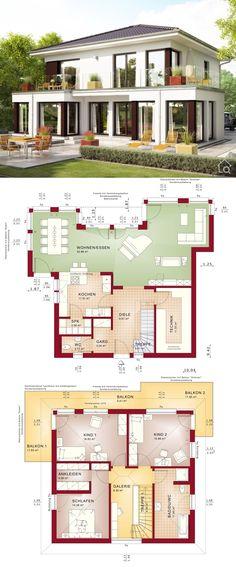 Fertighaus modern Stadtvilla mit Walmdach Architektur & Putz Fassade, Grundriss offen, gerade Treppe mit Galerie, Erker & Balkon, ohne Keller - Haus bauen Ideen Bien Zenker Einfamilienhaus EVOLUTION 154 V7 - HausbauDirekt.de
