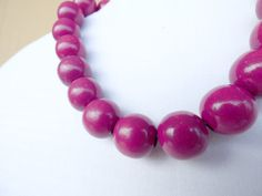 Cerise wooden bead necklace, vintage statement costume jewellery, choker necklace, chunky wooden bead necklace, cute dark pink beads.
